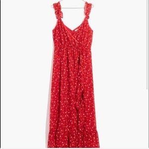 Madewell Ruffle-Strap Wrap Midi Dress
